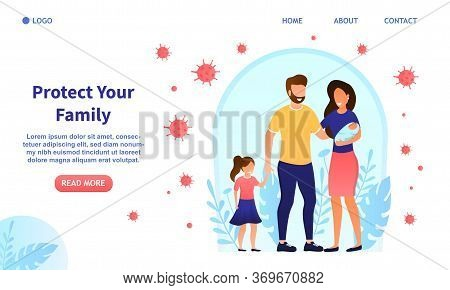 Happy Attractive Young Family With Kid And Baby Protected From Viruses. The Concept Of Family Health