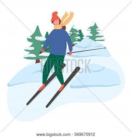 Young Happy Girl Riding On Ski Vector Flat Cartoon Illustration. Winter Landscape, Trees, Snowdrifts