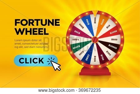 Fortune Wheel, Lottery Play, Online Casino Banner, Game Machine, Gambling Business Isolated Vector I