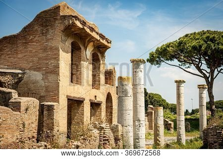 Ancient Roman Buildings In Ostia Antica Archaeological Site. Colony Founded In The 7th Century Bc. N
