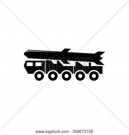 Ballistic Missile, Rocket Launcher Truck. Flat Vector Icon Illustration. Simple Black Symbol On Whit