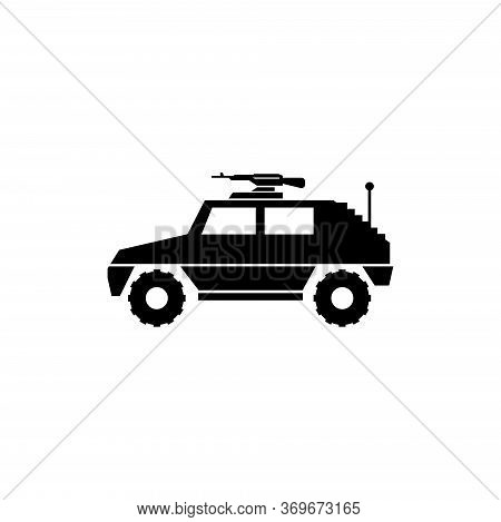 Military Vehicle Suv With Mounted Machine Gun. Flat Vector Icon Illustration. Simple Black Symbol On