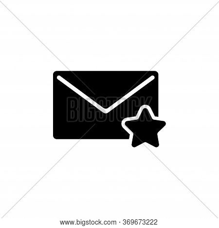 Favorite Mail, Envelope And Star. Flat Vector Icon Illustration. Simple Black Symbol On White Backgr