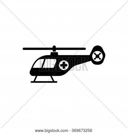 Emergency Helicopter, Medical Transport. Flat Vector Icon Illustration. Simple Black Symbol On White