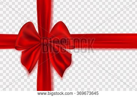 Realistic Red Bow And Horizontal Ribbon Shiny Satin For Decoration Gifts, Greetings, Holidays. Decor