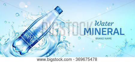 Mineral Water Bottle Ad Banner, Plastic Flask With Pure Drink And Blank Label Floating On Blue Splas