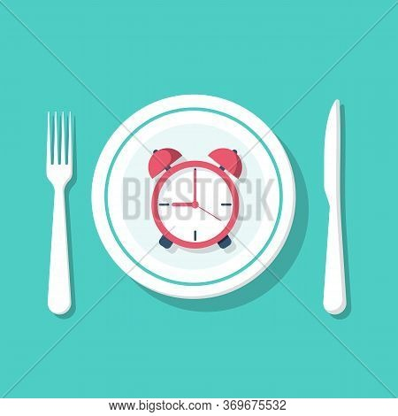 Fasting Concept. Food Keto Diet. Interval Nutrition. Intermittent Fasting. Empty Plate And Cutlery O
