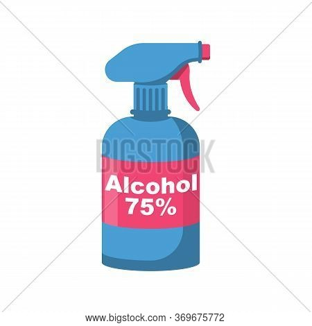 Bottle Of Antibacterial Alcohol 75. Sanitary Product For Personal Hygiene, Hand Washing. Hygienic Ge