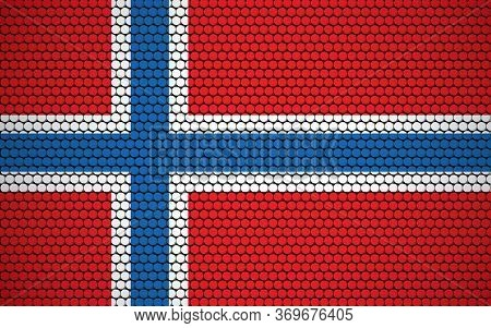 Abstract Flag Of Norway Made Of Circles. Norwegian Flag Designed With Colored Dots Giving It A Moder