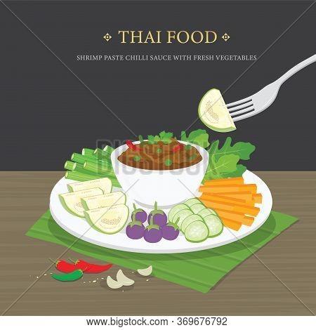 Set Of Traditional Thai Food, Shrimp Paste Chili Sauce (nam Prik Ka Pi) With Fresh Vegetables. Carto