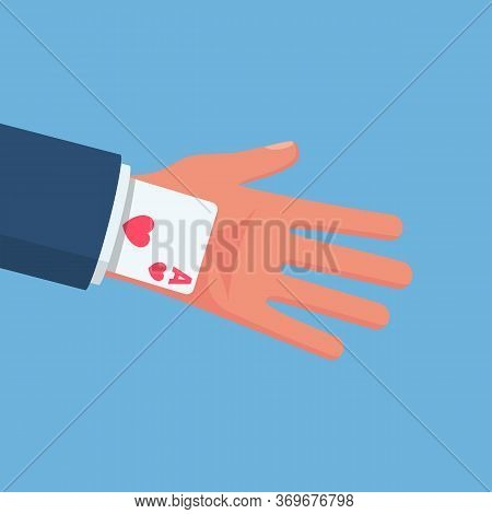 Ace In The Sleeve. Businessman In A Suit With A Card Up Sleeve. Backup Plan. Cunning And Dexterity.