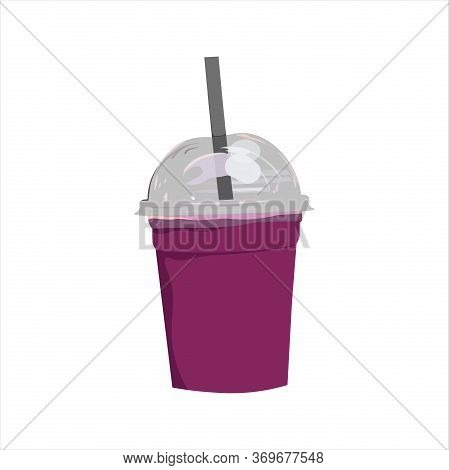 Vector Drawing Of Berry Smoothie In A Takeaway Plastic Glass. Illustration For Design Fast Food Menu