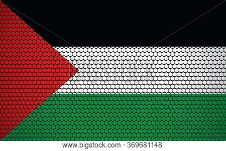 Abstract Flag Of Palestine Made Of Circles. Palestinian Flag Designed With Colored Dots Giving It A
