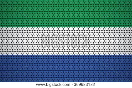 Abstract Flag Of Sierra Leone Made Of Circles. Sierra Leonean Flag Designed With Colored Dots Giving