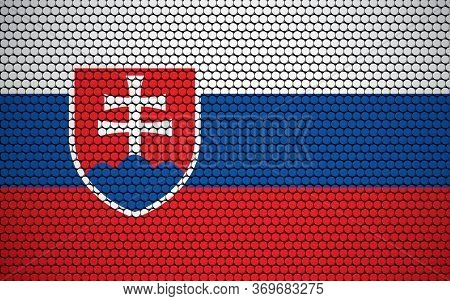 Abstract Flag Of Slovakia Made Of Circles. Slovak Flag Designed With Colored Dots Giving It A Modern