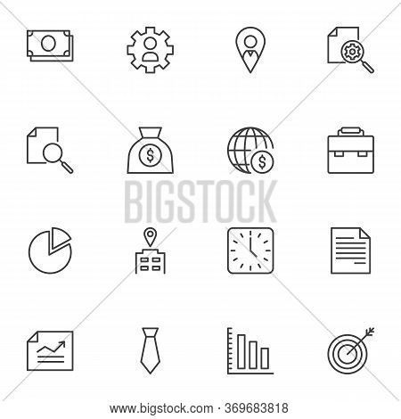 Business Finance Line Icons Set. Linear Style Symbols Collection, Outline Signs Pack. Vector Graphic