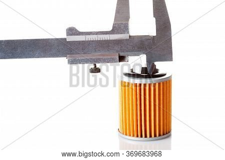 Measurements Of The Internal Size And Diameter Of The Car Filter Caliper, Isolated Spare Part Paper