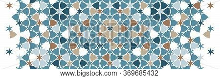 Arabic Islamic Vector Pattern, Border, Decor, Texture, Background. Geometric Halftone Texture With A