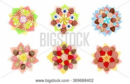 Bouquet Of Sweets And Strawberry Covered With Chocolate In Paper Wrap View From Above Vector Set