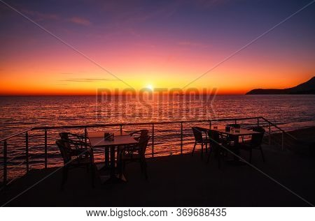 Spectacular Romantic Sunset On The Mediterranean Coast, Clouds In The Colorful Sky, Bar, Montenegro