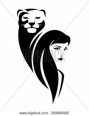 Beautiful Woman With Long Hair And Lioness Head Black And White Vector Portrait Outline