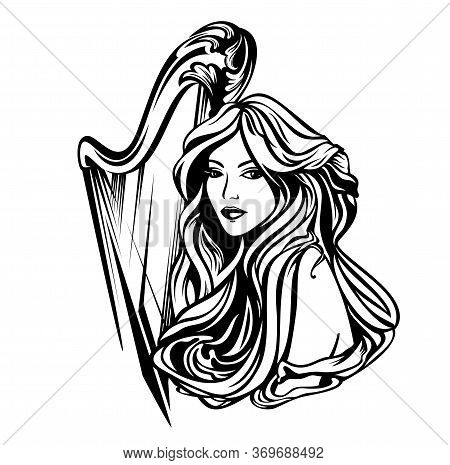 Beautiful Woman With Long Hair And Harp Musical Instrument - Classical Music Muse Art Nouveau Style