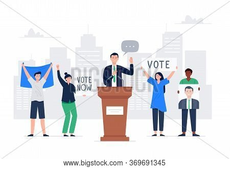 Politician Man Giving A Speech During The Election Campaign. Characters Holding Voice Banners. Peopl