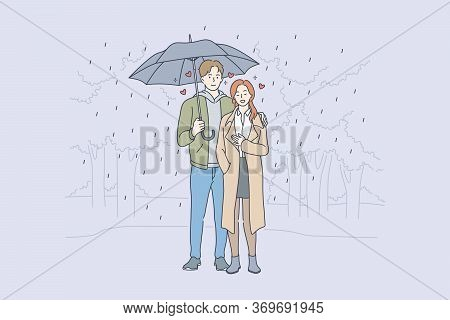 Love, Relationship, Romance Concept. Young Loving Couple Boyfriend And Girfriend Man And Woman Carto