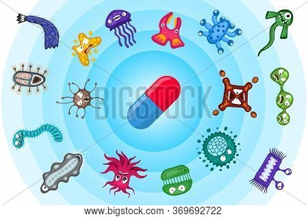 Medical Prescription Antibiotic Pill And Bacteria Virus Germ Characters Run Away. Pharmaceutics Medi