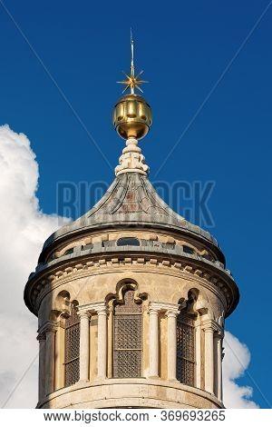 Closeup Of The Ancient Lantern Of The Dome Of Siena Cathedral (santa Maria Assunta,1220-1370). Tusca