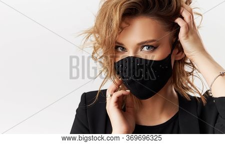 Woman In Trendy Fashionable Outfit During Quarantine Of Coronavirus Outbreak. Model Dressed Stylish
