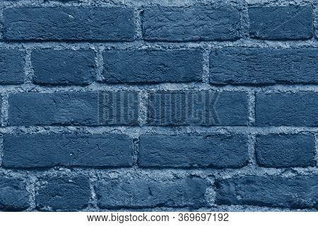 Seamless Classic Blue Brick Wall Texture Background. Pattern Of Weathered Old Cracked Brickwall. Sta