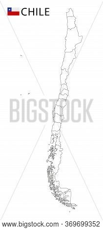 Chile Map, Black And White Detailed Outline Regions Of The Country.