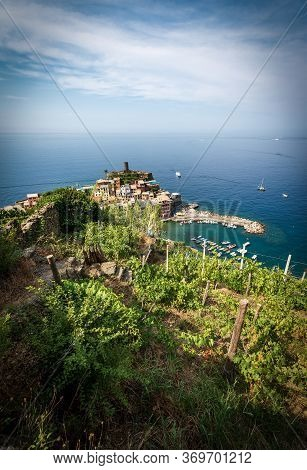 Aerial View Of The Ancient And Famous Village Of Vernazza And Seascape. Cinque Terre, National Park