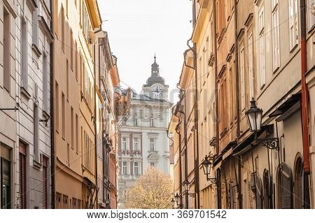 V Kotcich, A Narrow Street With Medieval Buildings And Cobblestones In The Old Town Of Prague, Also