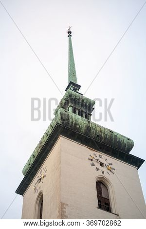 Close Up On The Clock Tower And Belfry St James Church, Also Called Kostel Svateho Jakuba, In Brno,