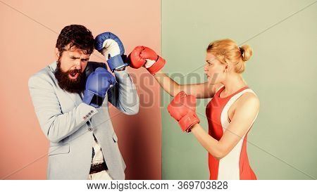 Couple Romantic Relationships. Man And Woman Boxing Fight. Boxers Fighting Gloves. Conflict Concept.