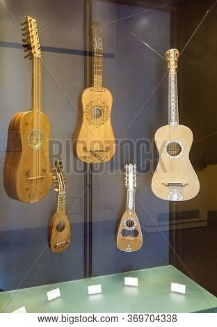 Milan, Italy, 29 September, 2015 : Medieval Stringed Musical Instruments - Exhibit At The Museum Of