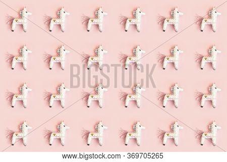 Birthday Pinata Unicorn Pattern Over Pink Pastel Background