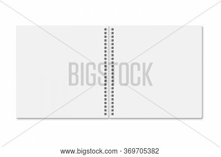 Blank White Notebook Opened, Above View. Vector Mock Up Esp 10. Vertical Blank Spiral Copybook, Diar