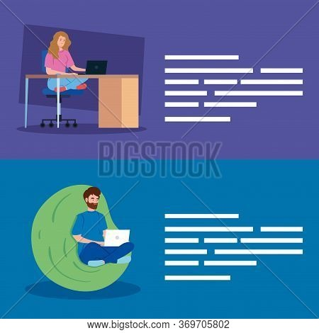 Set Scenes Of Young People Working In Telecommuting Vector Illustration Design