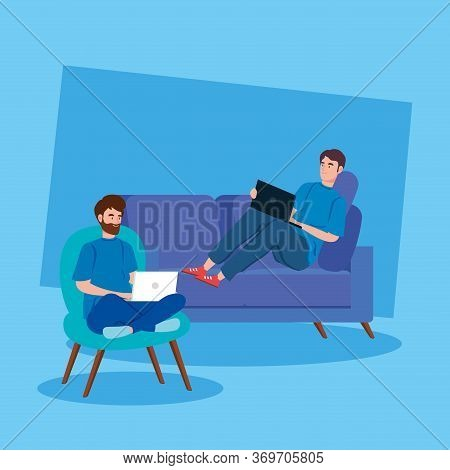 Men Working In Telecommuting Avatar Characters Vector Illustration Design