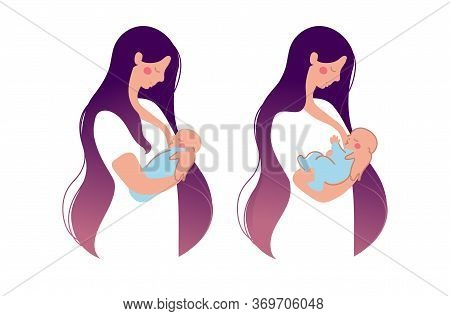 A Cute Young Mother Breastfeeds A Newborn Baby . The Woman Presses The Baby To The Chest, The Baby E