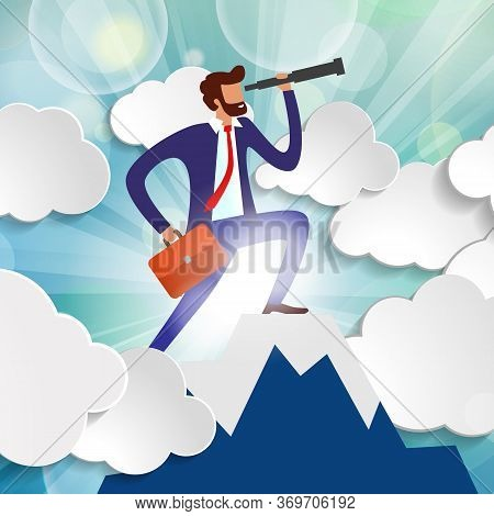 Effective Manager Looks Into Telescope Into Distance Trying To Predict Future. Businessman Standing