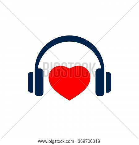 Headphones And Heart Shape On White Background. Flat Vector Headphones Design.