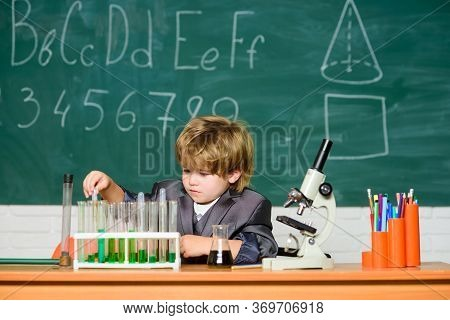 Microscope At Lab. Student Do Science Experiment With Microscope In Lab. Back To School. Pupil Looki