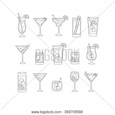 Alcohol Drinks And Cocktails Icon Set In Flat Line Style On White Background.