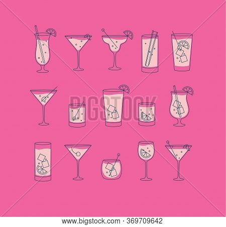 Alcohol Drinks And Cocktails Icon Set In Flat Line Style On Rose Background.
