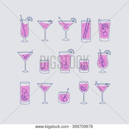 Alcohol Drinks And Cocktails Icon Set In Flat Line Style On Grey Background.