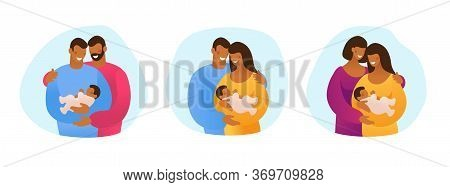 A Set Of Lgbt Couples And Couples With Children, Gays, Lesbians, A Traditional Pregnant Couple. Rela